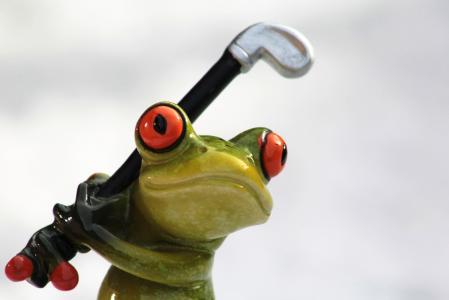 青蛙, 高尔夫, 高尔夫俱乐部, 绿色的小青蛙, 有趣, 可爱, 运动