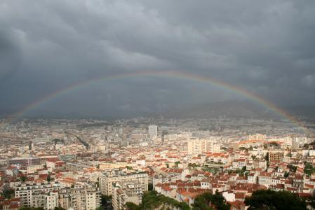 城市, 马赛, 法国, 彩虹