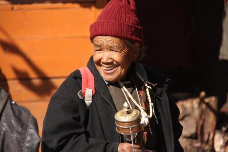 女人, ladhaki 妇女, 老女人, 山, 亚洲, 拉达克, 传统