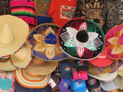 墨西哥, 贸易, 档, 宽边帽, 工艺品, 市场, 帽子
