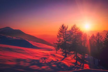 意大利, 日出, 天空, 云彩, 美丽, 山脉, 雪