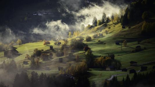 景观, 秋天, 雾, 村庄, 暮光之城, 下午, 没有人