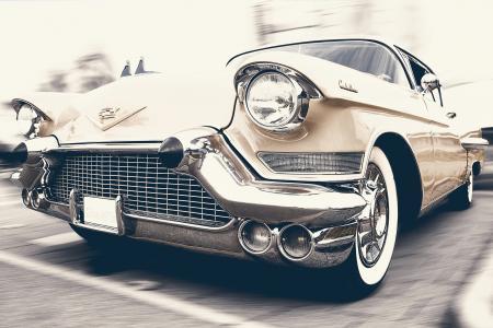 白色, 凯迪拉克, 埃尔多拉多, 特写, 摄影, 老式汽车, 车头灯