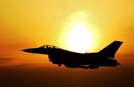 日出, 天空, 云彩, 太阳, 光明, 射流, 战斗机