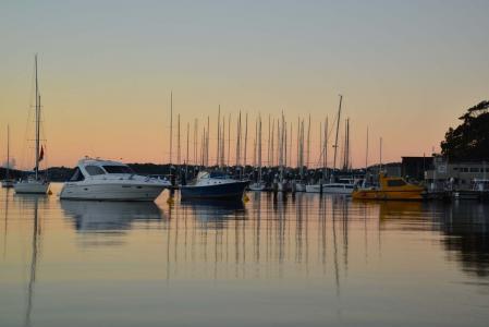 吐桥, 悉尼, 澳大利亚, 黎明, 小船, 玛丽娜, 端口