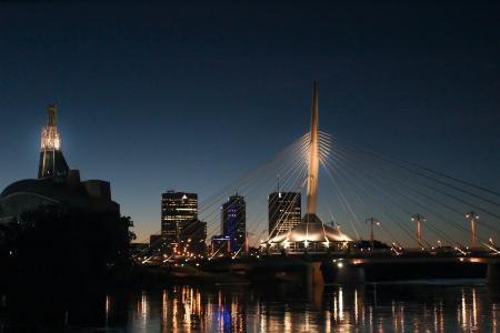 照片, 餐厅, 附近的, 河, 晚上, 建设, 城市