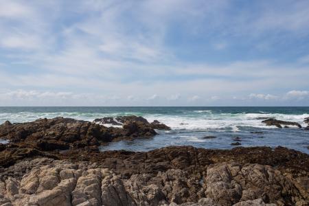 海海洋在海岸岩石挥动