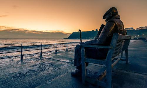 海景, 雕塑, 巨型长凳, 堡, 老人, 海, 景观