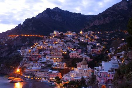 五渔村, 村庄, 晚上, 照明, 意大利, 地中海, 海岸