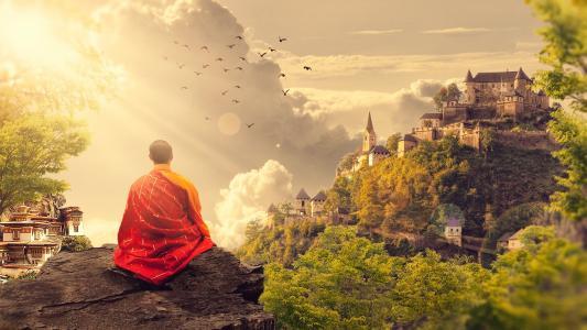 冥想, 佛教, 和尚, 寺, 全景, 佛教, 图片处理