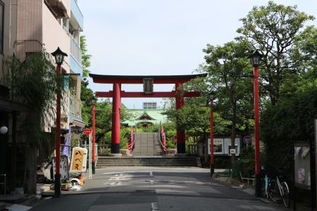 户天神, 鸟居, 前面, 靖国神社, 街道, 建筑