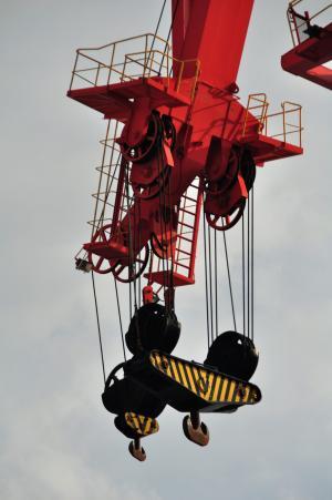起重机, 加载, 最后一个, 电梯载荷, baukran, 起重臂, 天空