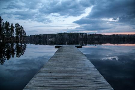 码头, 湖, 芬兰, 黑暗, 晚上, 水, 自然