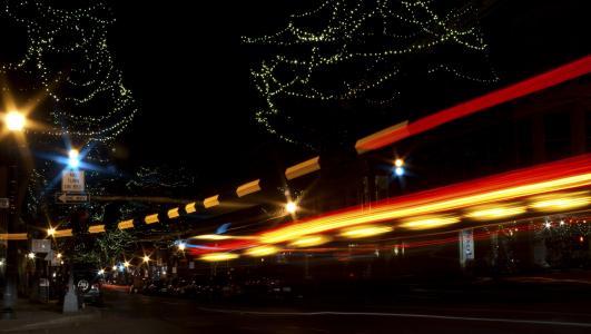 晚上, 灯, 汽车, 城市, 光, 黑暗, 建筑