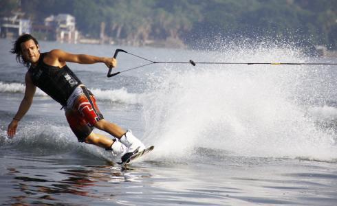 墨西哥, 湖, 男子, 滑水, 唤醒登机, 滑雪, 滑雪