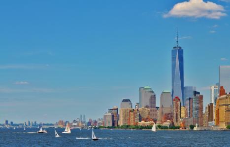 曼哈顿, 布鲁克林, 纽约, 建筑, 市中心, 视图, 摩天大楼