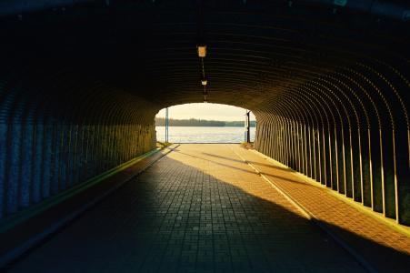 隧道, 桥梁, 在下, 阳光, 建筑, 道路, 城市