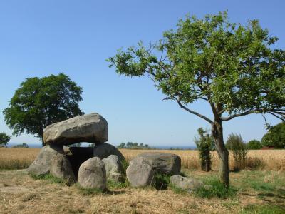 石坟墓, 玉米田, 石棚, 石墓, 字段, 夏季, 太阳