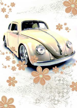驾照, 大众甲壳虫, 甲虫, 复古卡, 贺卡, 大众汽车公司, 自动