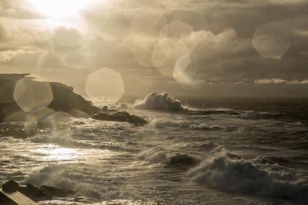 clovelly, 悉尼, 澳大利亚, 恶劣的天气, 波涛汹涌的大海, 雨, 海洋