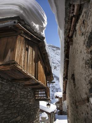 村庄, bonneval, 雪, 冬天, 山, 房屋, 阿尔卑斯山