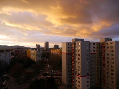 城市, 云彩, 天空, 布拉索夫, 斯洛伐克, 日落