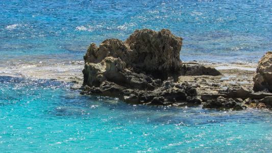 塞浦路斯, 岩质海岸, 海, 绿松石, 阳光, 蓝色, 阳光明媚