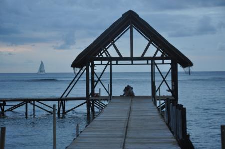 毛里求斯, 小木屋, 夫妇, 晚上, 海, 浮桥, 岛屿