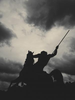 马, 云彩, 剪影, 战斗, 空气, 即将, 黑色