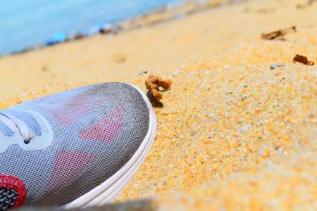 鞋子, 海滩, 夏季, 沙子, 度假, 海, 旅行