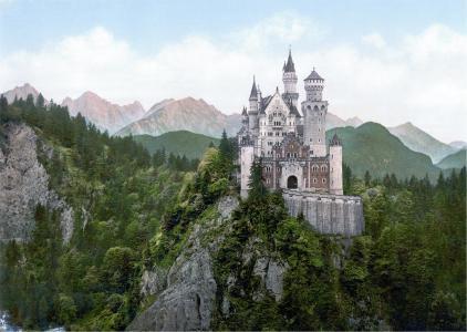 新天鹅堡, 城堡, 巴伐利亚, 巴洛克式, 第十九世纪, 罗马式复兴, 宫