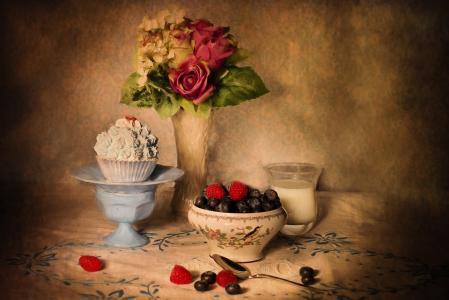 静物, 蓝莓和奶油, 表设置, 水果, 食品, 红色, 新鲜
