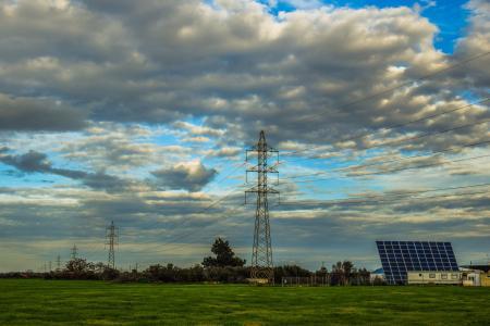 高张力, 塔, 电源, 能源, 电力, 风光, 照片光伏