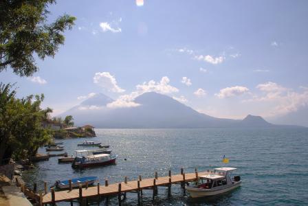 危地马拉, 圣佩德罗, 湖, 湖, 码头, 火山, 海
