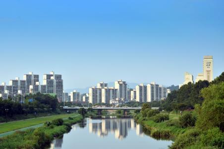 tancheon, 公寓, 小镇, 吉尔, 和谐, 景观