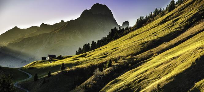 景观, 山脉, abendstimmung, 高山, 山, 自然, 风景