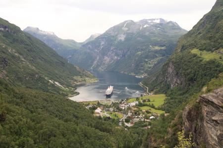 挪威, geiranger 峡湾, 邮轮, 航运, 船舶, 山, 河