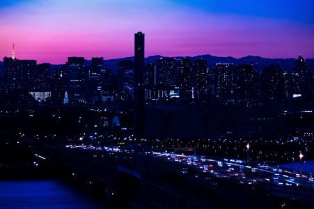 夜景, 日本, 晚上, 桥梁, 建设, 天际线, 景观
