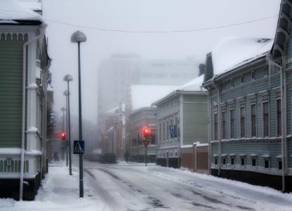 奥卢, 芬兰, 冬天, 雪, 冰, 建筑, 白雪皑皑