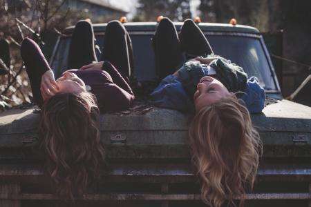 心寒, 时尚, 朋友, 乐趣, 女孩, 快乐, 模型