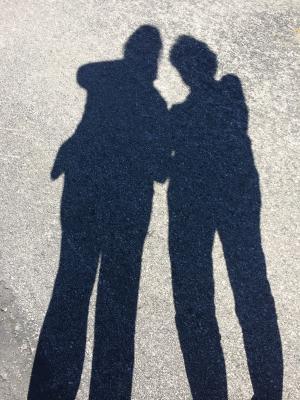 阴影, 高, 母亲, 女儿, 人, 剪影, 女性
