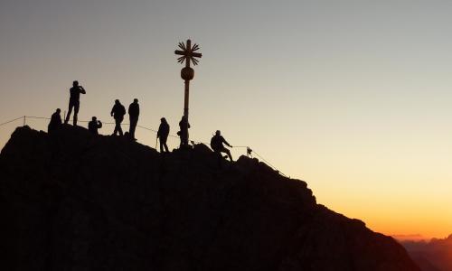 祖格峰, 登山家, 日出, 皮影戏, 登山者, 爬上, 登山