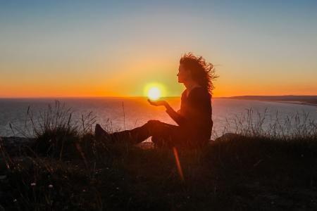 剪影, 日落, 女孩, 海洋, 一个人, 只有一个女人, 海滩