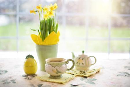 水仙花, 茶, 下午茶时间, 喝杯茶, 春天, 黄色的花, 植物