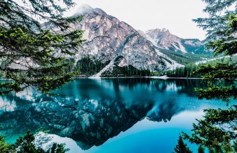 夏时制, 森林, 有光泽, 湖, 湖滨区, 景观, 山的顶峰