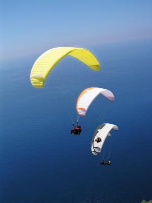 滑翔伞, 降落伞, 天空, 空气, 滑翔伞, dom, 冒险