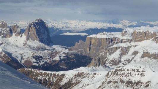 白云岩, 意大利, sassolungo, 蝶鞍地块, 山脉, 雪, 蓝蓝的天空