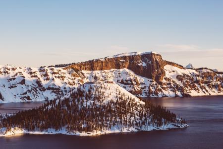 景观, 悬崖, 森林, 伍兹, 日落, 自然, 山