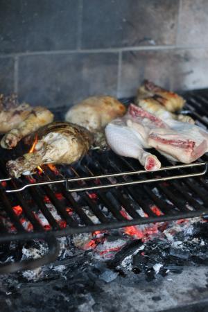 乡村, 石烧烤, 食品, 消防, 木炭, 晚餐, 鸡腿
