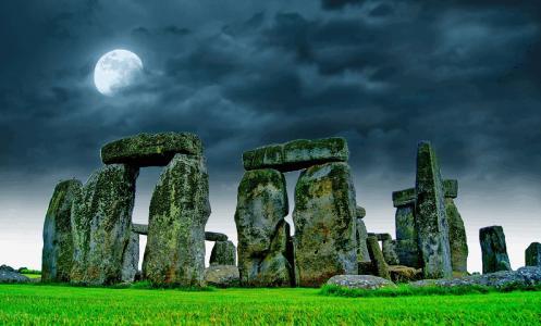巨石阵, 天空, 月亮, 晚上, 石头, 废墟, 心情